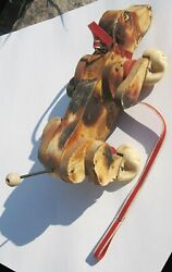 Lot Of Two Fisher Price Snoopy Dog 181 All Wood Vintage For Project 60s Pull Toy