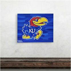 Kansas 16 X 20 Logo With Blue Background Wrapped Artwork By Charlie Turano Iii