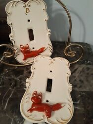 Set Of 2 Vintage Ceramic Fox Light Switch Covers French Country Letter B