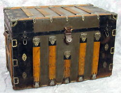Antique Large Metal And Wood Steamer Flat Top Trunk With Original Interior Detail