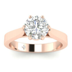 1.02ct F-si2 Diamond Basket Engagement Ring 14k Rose Gold Any Size