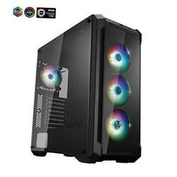 E-atx Mid Tower Pc Gaming Case With 2 Tempered Glass Panels, 4 Addressable