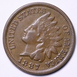 1887 Indian Head Cent Penny Choice Au+ Unc Free Shipping E585 Jcf