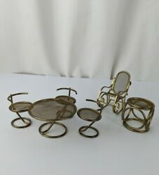 Vtg Gold Tone Metal Miniature Dollhouse Furniture Table Chairs Rocking Chair Lot