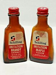 Vtg Schilling 1 Oz. Glass Spice Bottles Empty Imitation Brandy And Maple With Caps