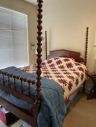 Antique Mahogany 1880s Queen Sized 4 Poster Bed Frame Headboard And Footboard