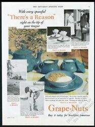 1929 Turquoise Blue Porcelain Bowl Plate Teapot Photo Grape-nuts Cereal Print Ad