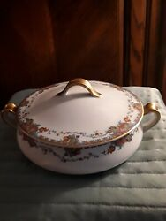 Haviland And Co Limoge Casserole/vegetable Bowl Gold And Floral Pattern 33992