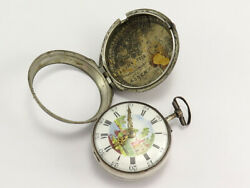 1700s Samuel Heydon London Sterling Silver Fusee Oignon Pocket Watch With Case