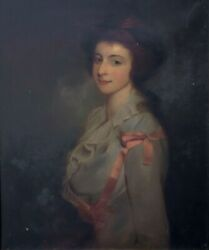 18th Century Portrait Of A Young Lady In A Pink Dress John Hoppner 1758-1810