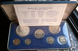 Jamaica 1971 Manley Mint Box Proof Set Of 7 Coins,with Silver Coin