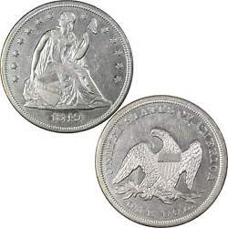1849 Seated Liberty Dollar Au About Uncirculated Details 90 Silver 1 Type Coin