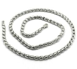 18k White Gold Chain 4mm Tube Rounded Drop Link 60cm 24 Made In Italy