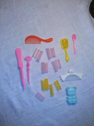 Vintage Doll Accessories Lot Combs Brushes 1 And 1/4 Rollers Barbie