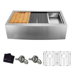 Double Bowl Workstation Sink Apron Front Farmhouse Stainless Steel 33 In. 50/50