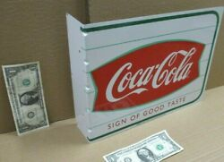 Coke Coca-cola - Fishtail Two Sided Flange Sign -sticks Out From Wall -dated '99