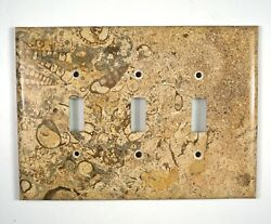 Spiral Fossil Marble - 3 Triple Toggle Switchplates Set M01