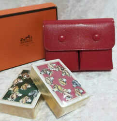 Hermes Paris Playing Card Case Red Leather And 2 Sets Of Playing Cards In Box