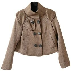 Hanii Y Womens 38 Us 2 Brown Woven Cropped Double Breasted Wool Mohair Jacket