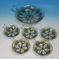 Theresienthal Bohemian Art Glass - Hand Painted Master Nappy Bowl 5 Small Bowls