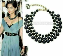 Necklace Pearl Effect Glass Crystals Dark Blue 325541