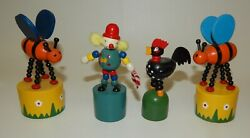 Vintage Wooden Collapsing Push Button Puppet Toys - Lot 4 - Bees Clown Rooster