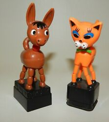 Vintage 1960's Plastic Collapsing Push Button Puppet Toys - Cat And Donkey