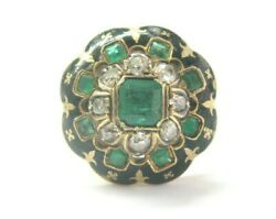 Vintage 18kt Colombian Green Emerald And Old Mine Cut Diamond Ring 1.28ct