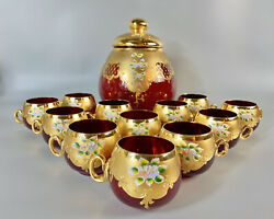 Bohemian Glass Ruby Red/gold Enameled Large 4 Quart Punch Bowl And 12 Cups