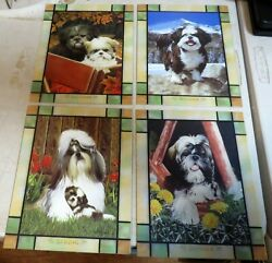 Faux Stained Square Glass 4 Seasons Displaying Dogs,nice For Project Or Framing