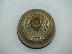 Authentic Victorian 1890 Brass Flower And Leaf Wind-up Doorbell