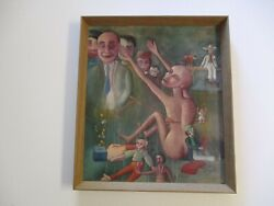 Antique Wpa Style Oil Painting Nude Puppet Surrealism Expressionism Mexican Old