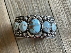 Tsosie White Golden Hillandrsquos Turquoise And Sterling Silver Cuff Bracelet Signed