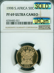 1998 South Africa 50 Cents Ngc Pf69 Mac Uhcam Solo Finest Grade Mac Spotless