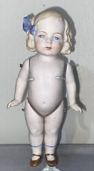 Antique German 7 All Bisque Blonde Girl Doll Wire Jointed Chubby Belly Unmarked