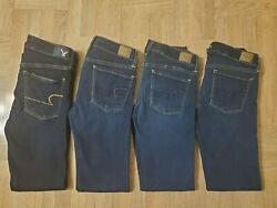 Lot Of 4 Pairs American Eagle Womens Jeans Size 6 Regular Skinny Super Stretch