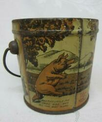 Old Canco Tin Litho Pigs Tin Bucket. Story Of This Little Pig Went To Market