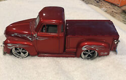 Dub City Red 1/24 Scale 1951 Chevy Chevrolet Pickup Diecast With Flames