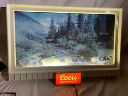 Vintage Coors Lighted Beer Bar Advertising Sign. Waterffall And River Scene. Nice.