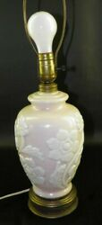 Antique Consolidated Phoenix Pink White Floral Table Lamp