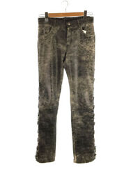 Secondhand Mm6 S32la0155 Straight Pants 40 Cowhide Cow Leather Crack Processing