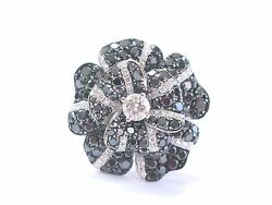 Flower Black And White Natural Diamond White Gold Jewelry Ring 18kt 4.59ct