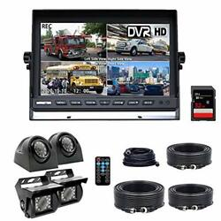 Backup Camera System 4 Split Screen 9and039and039 Quad View Display Hd 1080p Dvr-9inch