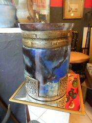 Rare Vase Art Deco Aristide Colotte Nancy Glass And Wrought Iron Signed Jp