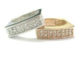 Natural Diamond Rose And White Gold Pave Square Band Rings 1.00ct