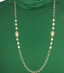Sign Miriam Haskell Baroque Pearls With Goldtone Chain Necklace Vintage And Rare