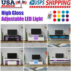 Cabinet Furniture High Gloss Led Tv Stand Shelf Entertainment Center Console Us