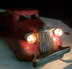 Vintage Marx Auto Transport Pressed Steel Lighted Carrier Toy 4- Cars 1930s