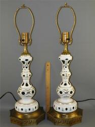 Antique Pair Bohemian Cased Glass Cut To Green Lamps Enamel Flowers Germany