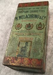 Nice Antique Egyptian Cigarettes M. Melachrino And Co Lithographed Tobacco Tin